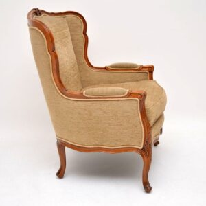 Antique French Louis Style Carved Walnut Armchair