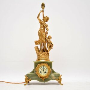 Antique French Gilt Metal Mantle Clock Lamp