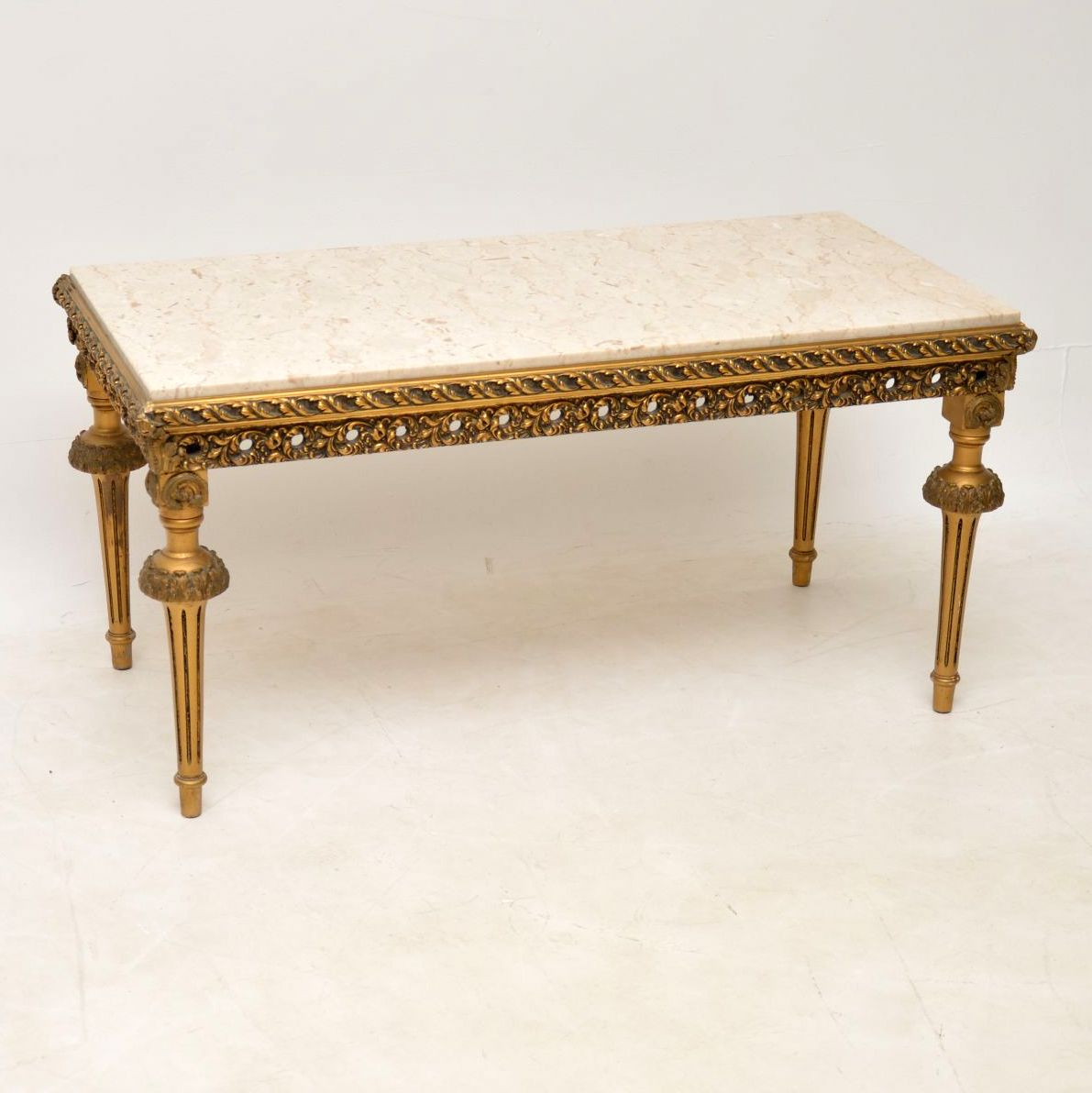 Antique French Gilt Wood & Marble Coffee Table