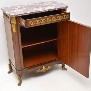 Antique French Inlaid Marquetry Marble Top Cabinet
