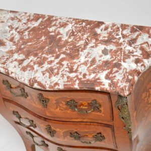 Antique French Inlaid Marquetry Marble Top Bombe Chest