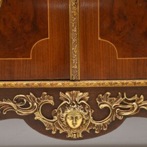 Antique French Marble Top Sideboard With Marquetry Doors