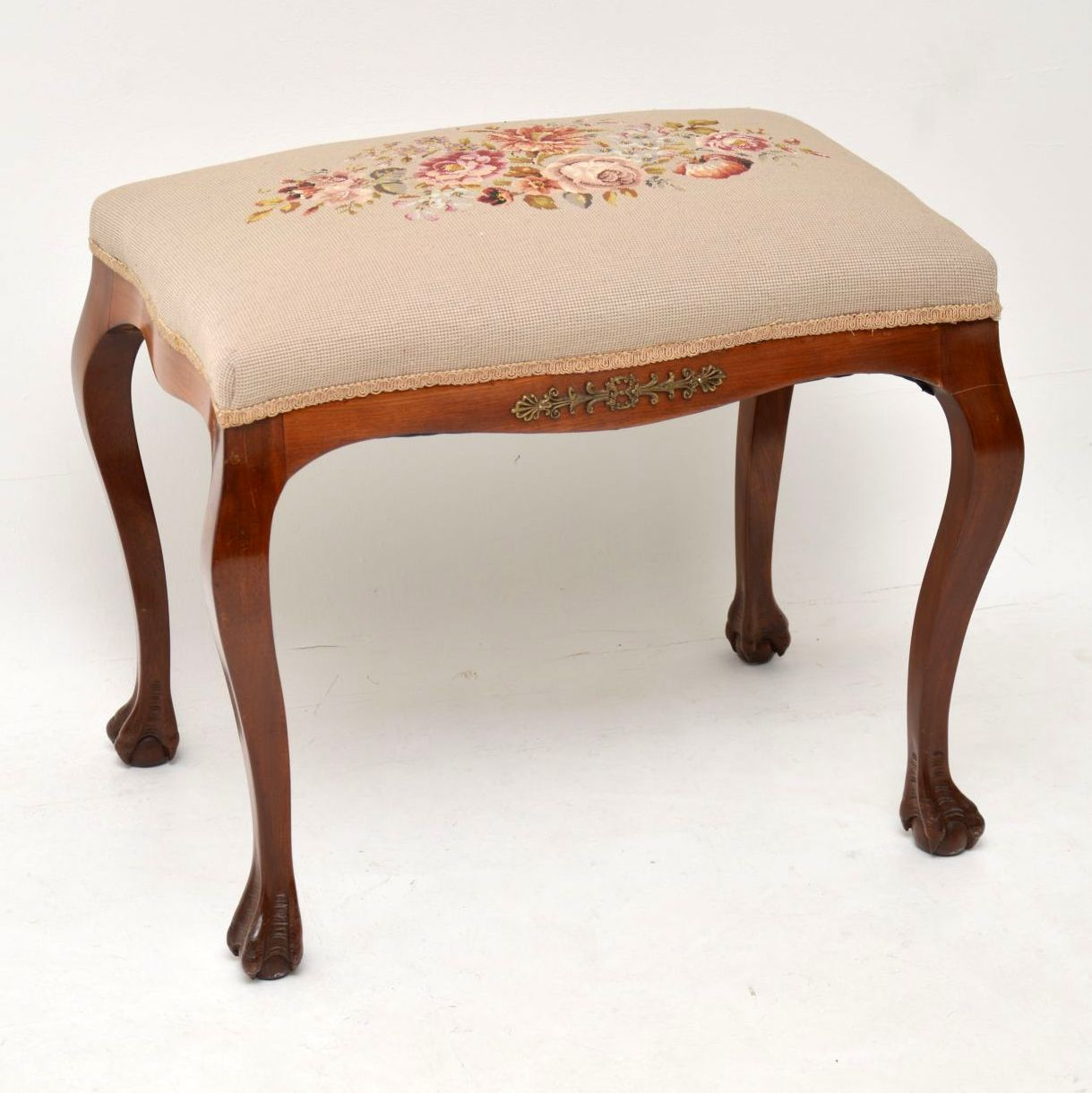 Antique French Walnut Needlepoint Tapestry Stool