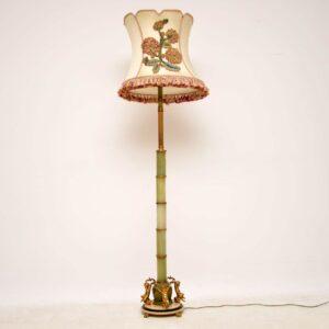 Antique French Gilt Metal & Onyx Floor Lamp