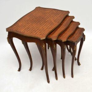 Antique French Nest of 4 Parquetry Top Tables