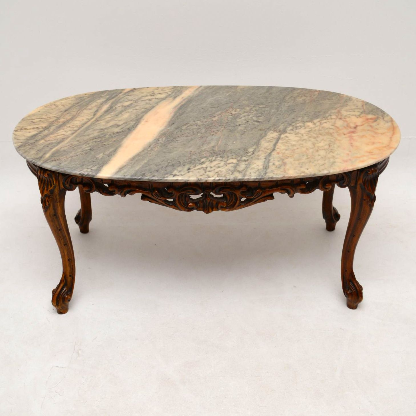 Antique French Style Marble Top Coffee Table