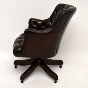 Antique Deep Buttoned Leather Swivel Desk Chair
