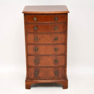Slim Antique Edwardian Bow Fronted Mahogany Chest of Drawers