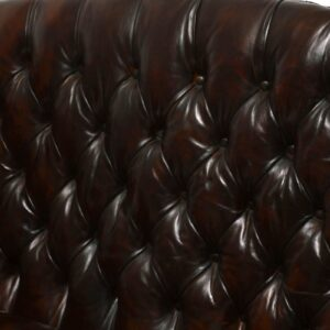 Antique Deep Buttoned Leather Wing Back Sofa