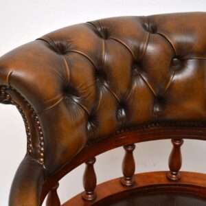 Antique Victorian Style Leather Swivel Desk Chair