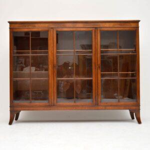 Antique Mahogany Three Door Bookcase