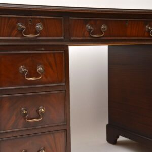 Antique Georgian Style Mahogany & Leather Pedestal Desk
