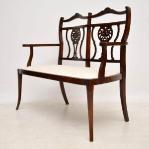 Antique Mahogany Two Seater Settee