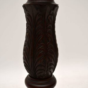 Antique Carved Mahogany Torchere Stand