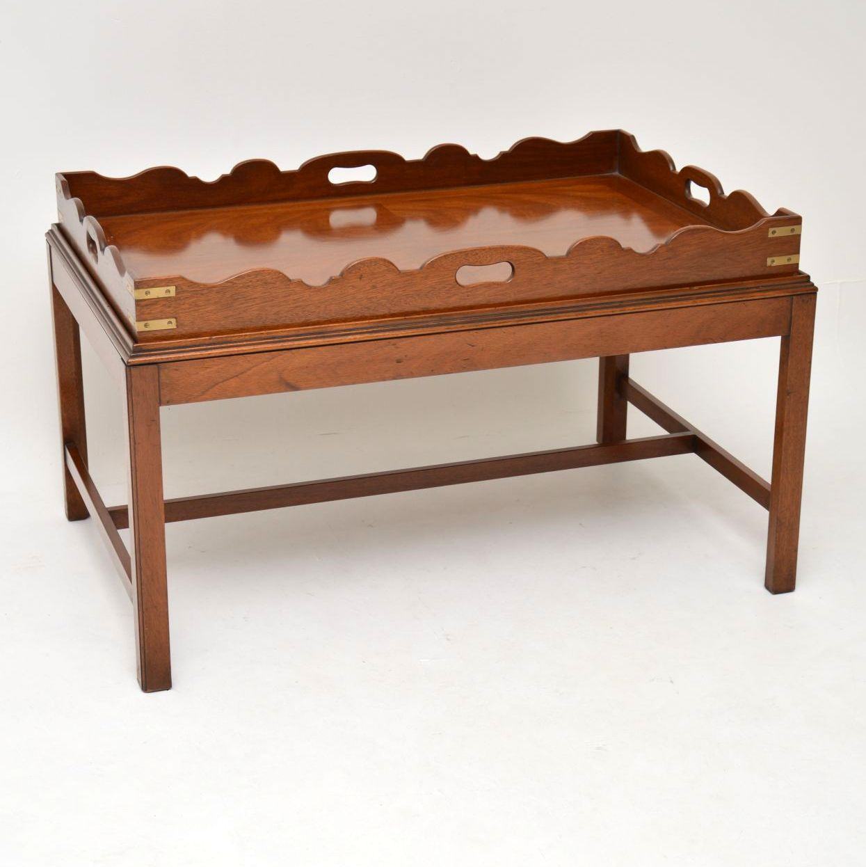 Antique Georgian Style Mahogany Tray Top Coffee Table