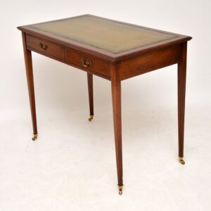 Antique Mahogany Leather Top Writing Table Desk
