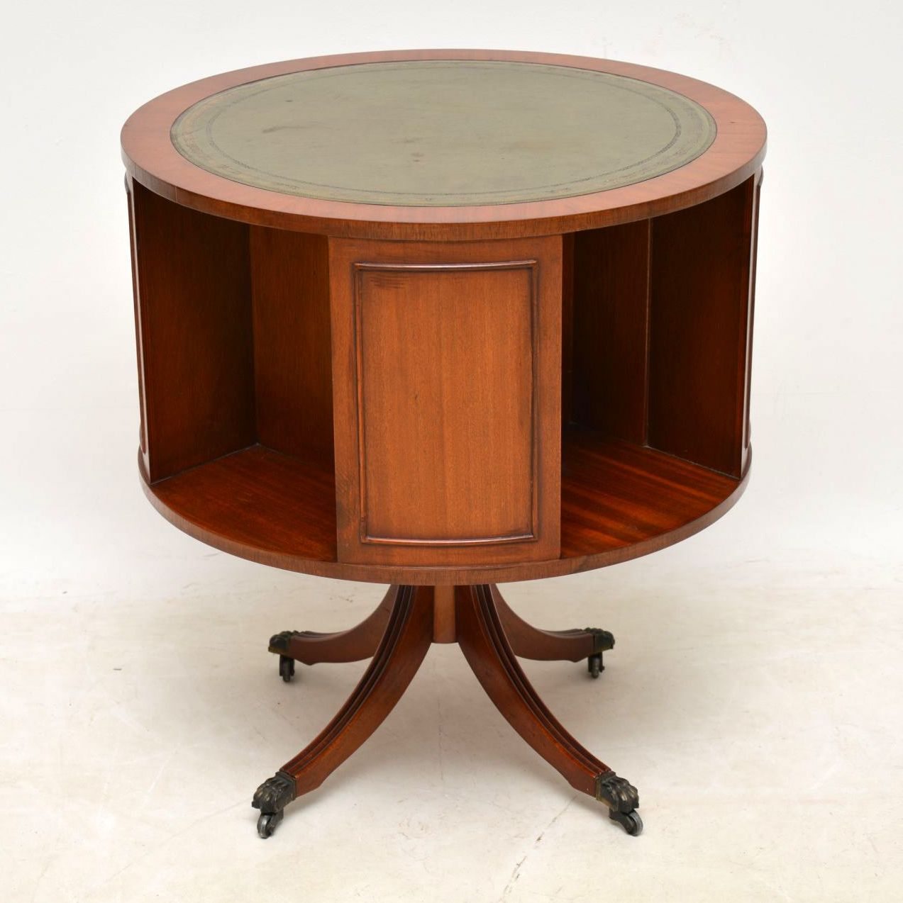 Antique Regency Style Mahogany & Leather Drum Table