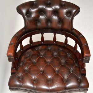 Antique Victorian Style Mahogany & Leather Captains Desk Chair
