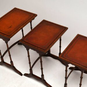 Antique Leather Top Mahogany Nest of Tables