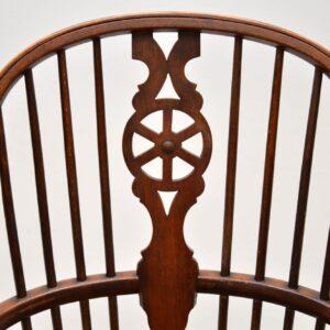 Antique Elm Spindle Wheel Back Windsor Armchair