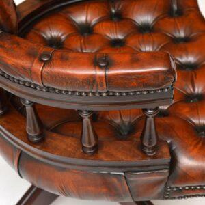 Antique Mahogany & Leather Captains Desk Chair