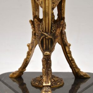 Large Antique Gilt Metal & Marble Table Lamp
