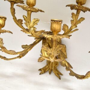 Pair of Antique Gilt Bronze Wall Sconce Candelabra