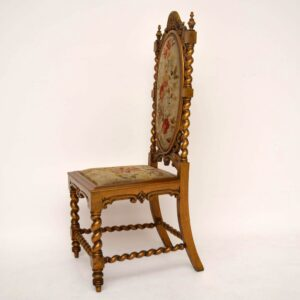 Antique Gilt Wood Side Chair with Original Needlepoint