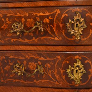 Antique French Kingwood & Rosewood Marble Top Bombe Commode