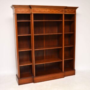 Antique Inlaid Mahogany Breakfront Open Bookcase