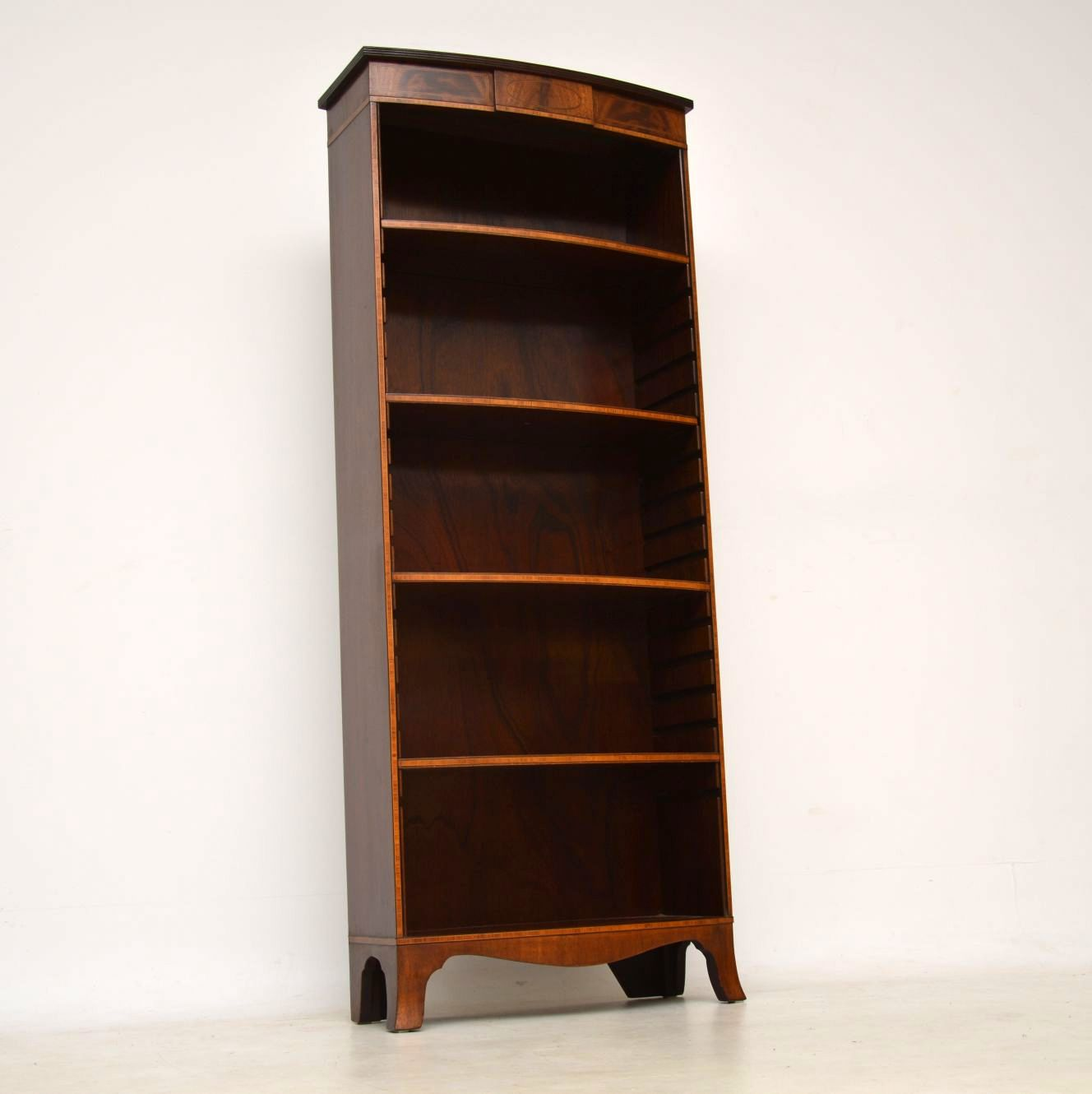 Antique Inlaid Mahogany Open Bookcase