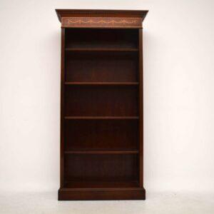 Antique Inlaid Mahogany Open Bookcase