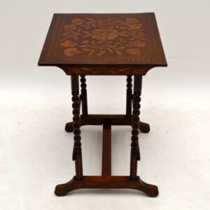 Antique Victorian Dutch Marquetry Mahogany Side Table