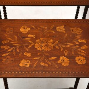 Antique Victorian Dutch Marquetry Mahogany Nest of 3 Tables