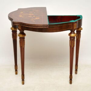 Antique French Style Marquetry Top Walnut Card Table