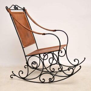 Antique Wrought Iron & Leather Rocking Chair