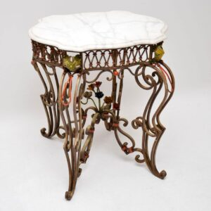Antique Painted Iron Marble Top Table