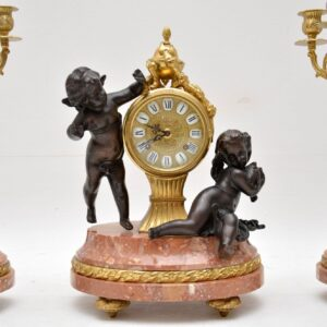 Antique Italian Imperial Mantel Clock & Candelabra