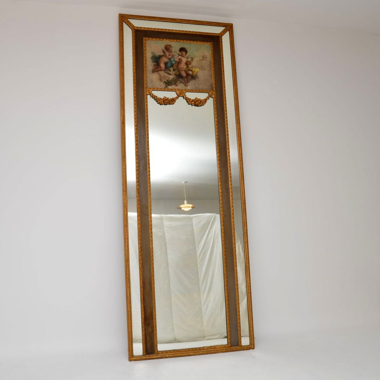 Enormous Antique Gilt Wood Mirror with Oil Painting