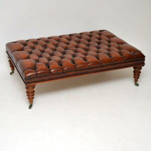 Antique Leather & Mahogany Foot Stool / Coffee Table