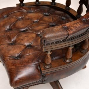 Antique Leather & Mahogany Desk Chair