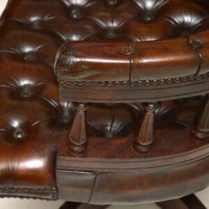 Antique Leather Swivel Desk Chair