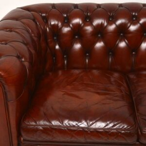 Antique Leather 3 Seater Chesterfield Sofa