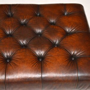 Antique Victorian Style Deep Buttoned Leather Stool