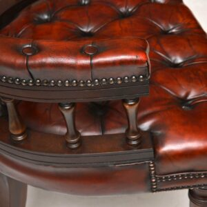 Antique Deep Buttoned Leather & Mahogany Desk Armchair