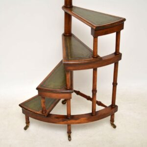 Antique Yew Wood & Leather Library Steps