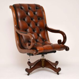 Antique Regency Style Leather & Mahogany Swivel Desk Chair