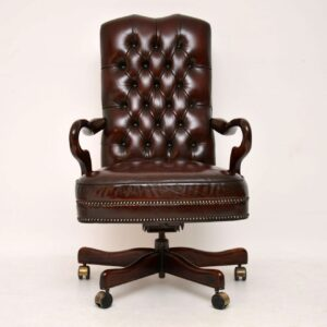 Antique Leather & Mahogany Swivel Desk Chair