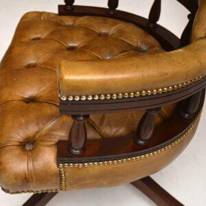 Antique Leather & Mahogany Swivel Desk Chair