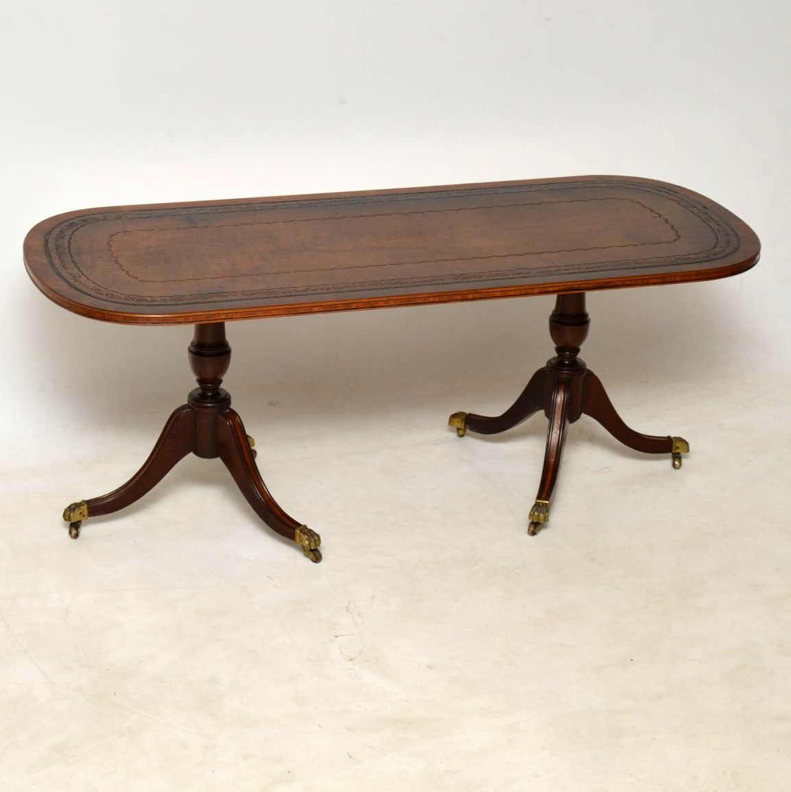 Antique Regency Style Leather Top Mahogany Coffee Table